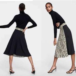 ZARA Pleated Animal Print Skirt NWT S Snake/Black